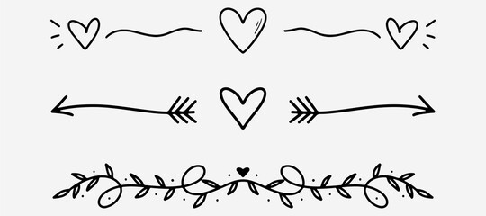 Fototapeta Love dividers sketch. Hand drawn romantic divider in doodle style. Heart shape with arrows doodle. Handdrawn decorative art shape. Vector EPS 10 obraz