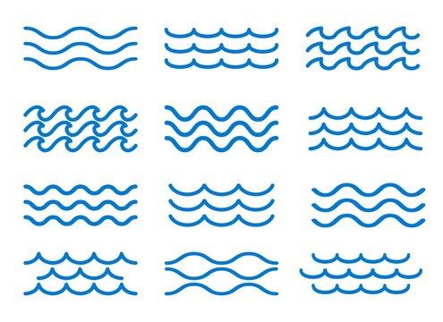 Sea wave outline elements