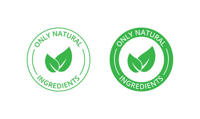 Obraz Only natural ingredients stamp, organic product icon, eco emblem, green label - fototapety do salonu