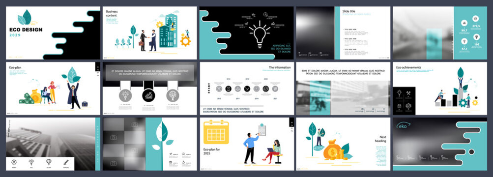 Eco-design City business. Presentation template, geometric shapes background, green and black elements. Teamwork, businessman, nature and trees. Use in flyers and SEO, webinar pages.Vector infographic