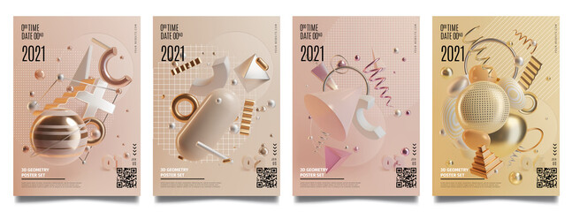 Concept Banner Cards with Realistic 3d Detailed Abstract Geometry Elements. Vector