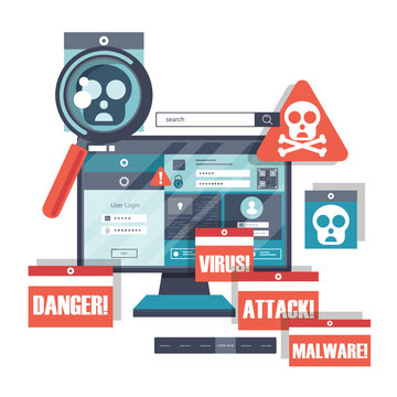 Malware concept. Concept of virus, piracy, hacking and security. Website banner of e-mail protection, anti-malware software. Computer Viruses Attack, Errors detected, Warning signs, Stealing data.