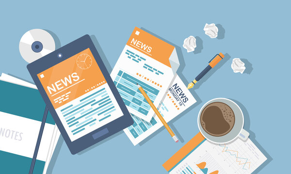 Vector illustration. Flat header. Online news. Newsletter and information. Business and market news. Financial report and coffee on table
