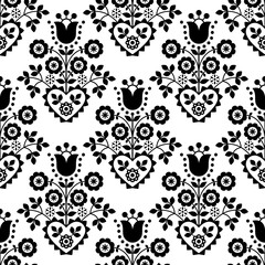 Obraz Retro floral vector seamless pattern perfect for textile or fabric print, black and white decor inspired by folk art from Nowy Sacz, Poland   - fototapety do salonu