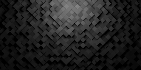 Obraz Black squares or cubes shifted rotated mosaic abstract background pattern geometrical design with ligth from top - fototapety do salonu