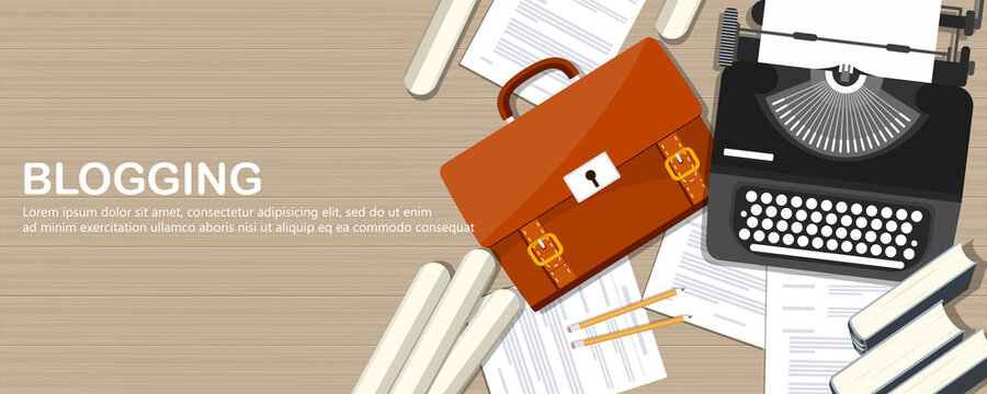 Blogging and journalism concept. Write you story. Flat vector design