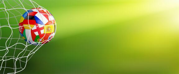 Obraz green soccer background with ball in goal - fototapety do salonu