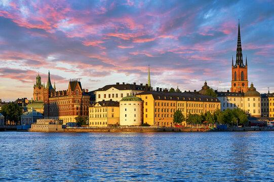 Riddarholm Church (Riddarholmskyrkan), Riddarholmen island and the old town at sunset, Stockholm, Sweden