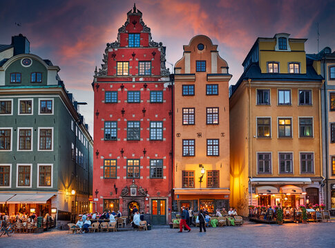 """Stortorget square in Gamla Stan, the """"old town"""" of Stockholm, Sweden."""