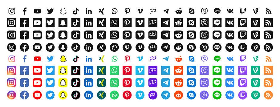 Set of social media icons. Social network vector symbols.