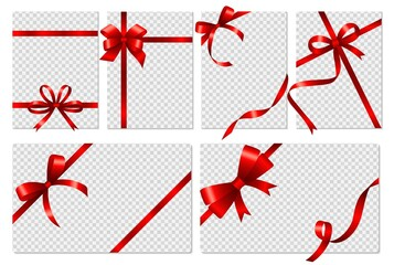 Fototapeta Transparent cards. Banners with realistic red bows and ribbon. Isolated empty gift flyers or voucher, social media stories vector templates obraz