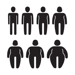 Thin and fat. Stylized stick characters people symbols overweight silhouettes tummy male fat person garish vector illustrations isolated