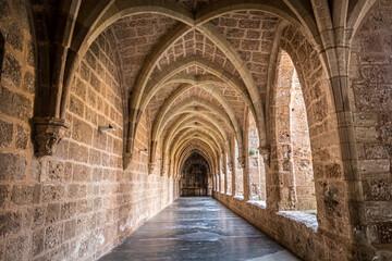 Stone arched hallway in the Monastery of Piedra, Zaragoza, Spain