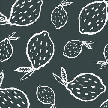 Linocut black and white lemon pattern. Vector lino print pattern with white lemons. Pattern with a linear illustration of lemons.