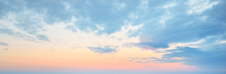 Fototapeta Clear blue sky. glowing pink and golden cirrus and cumulus clouds after storm, soft sunlight. Dramatic sunset cloudscape. Meteorology, heaven, peace, graphic resources, picturesque panoramic scenery obraz