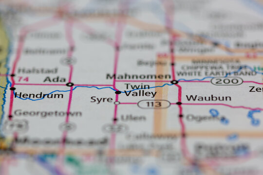 05-17-2021 Portsmouth, Hampshire, UK, Twin Valley Minnesota USA shown on a Geography map or road map