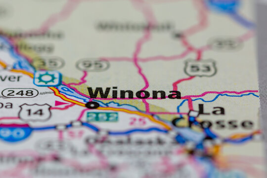 05-17-2021 Portsmouth, Hampshire, UK, Winona Minnesota USA shown on a Geography map or road map