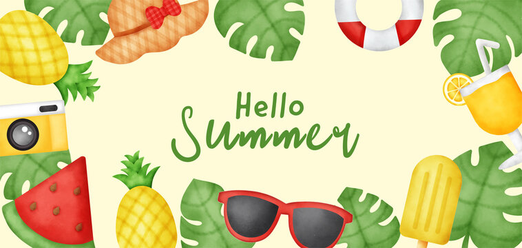 Summer background with summer elements