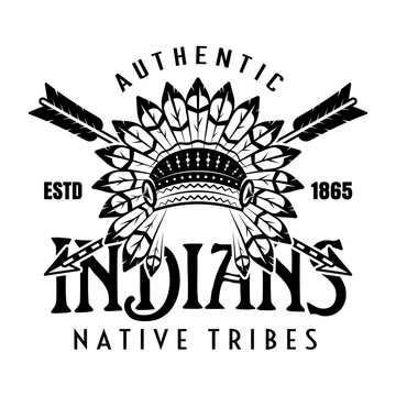 Native american indians, apache tribe vector vintage emblem, label, badge or logo in monochrome style isolated on white background