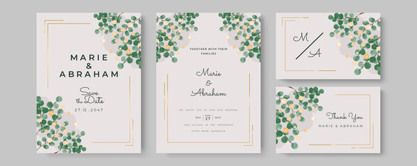 Fototapeta Watercolor Wedding Invitation template card With Beautiful Foliage. Wedding invitation suite with wild nature landscape watercolor. Mothers day beautiful floral cards. Watercolor flowers frame vector  obraz