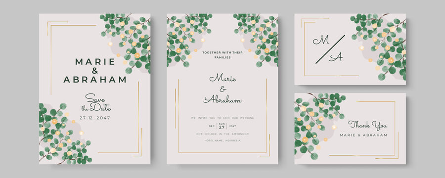 Watercolor Wedding Invitation template card With Beautiful Foliage. Wedding invitation suite with wild nature landscape watercolor. Mothers day beautiful floral cards. Watercolor flowers frame vector