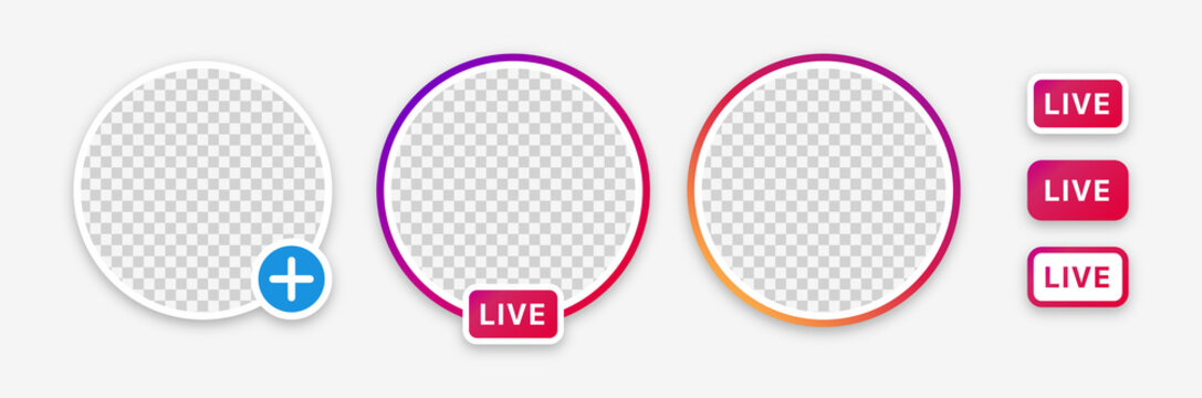Instagram story, live stream, new story badge vector set. Isolated empty instagram stories badges and live buttons on white background. Circle frame for profile picture. Editorial illustration.