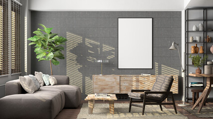 Obraz Vertical blank poster mockup on concrete wall in interior of living room. - fototapety do salonu