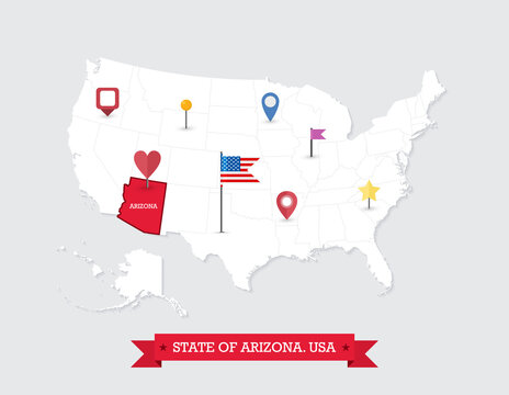 Arizona State map highlighted on USA map