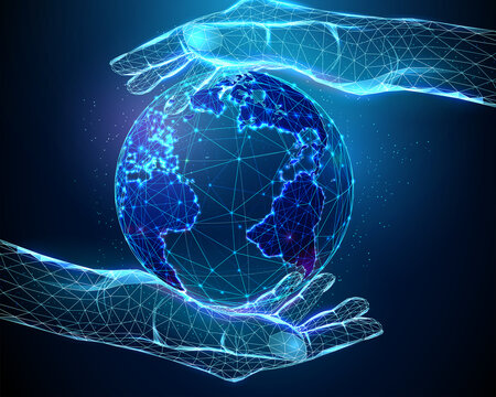 Abstract Pair Hands Holding Planet Earth