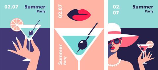 Fototapeta Summer party poster design template. Minimalistic style vector illustration. obraz