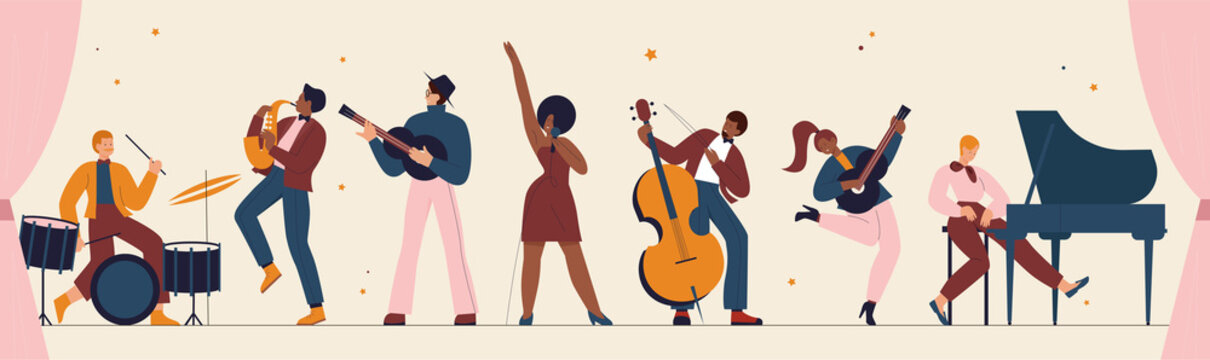 International jazz day, retro music festival party panorama concert vector illustration. Live music band playing musical instrument, woman singer and musicians with saxophone piano drum background