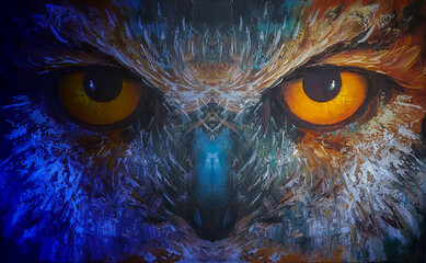 owl with piercing yellow eyes