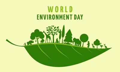 World Enviroment Day. Wild animals and nature. Keeping nature clean.