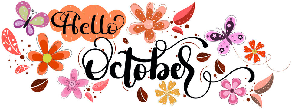 Hello October. OCTOBER month vector with flowers and leaves. Decoration floral. Illustration month October