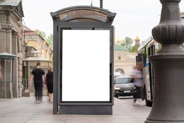Fototapeta advertising mockup for ad placement advertising in the bus shelter obraz