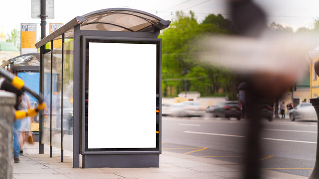 Outdoor advertising mockup for advertising in the bus shelter