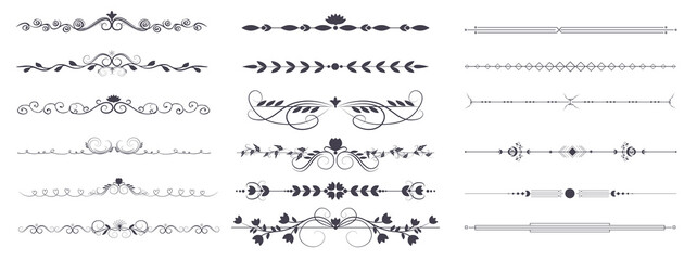 Fototapeta Divider ornament is a large collection set. Hand-drawn vector line dividers decorated with flowers and leaves. Decorations for greeting cards and posters. Vector illustration, isolated set obraz