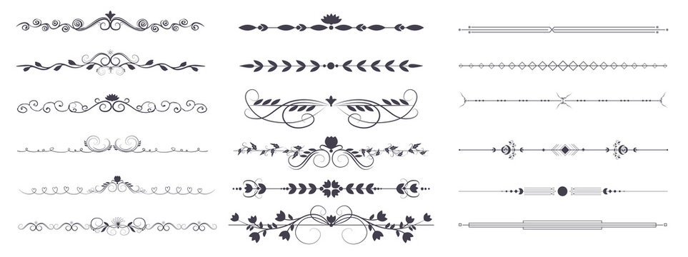 Divider ornament is a large collection set. Hand-drawn vector line dividers decorated with flowers and leaves. Decorations for greeting cards and posters. Vector illustration, isolated set