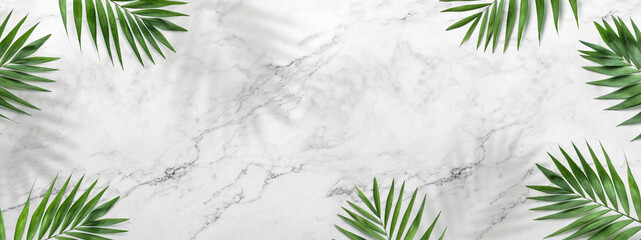 Fototapeta Tropical leaves, Palm plants on light marble background. Summer concept, flat lay, top view