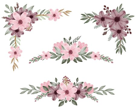 Set of watercolor floral frame bouquets of dusty pink