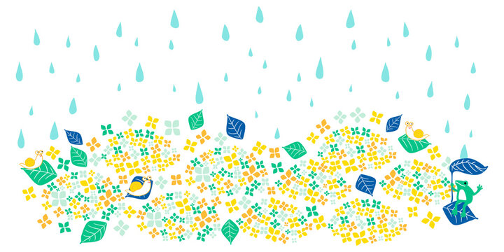 背景 梅雨 ポップカラフル 黄緑 横長