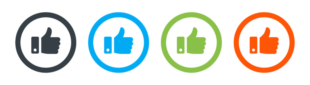 Like, thumb up icon vector isolated on white background
