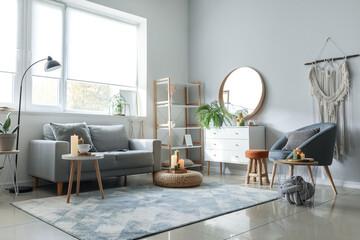 Fototapeta Stylish interior of modern living room obraz