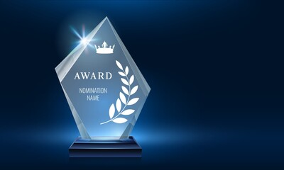 Glass Trophy Award Shining With Light Realistic Prize Winner Nomination