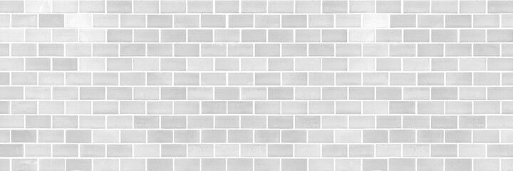 Obraz Panorama of Modern white brick wall texture for background - fototapety do salonu