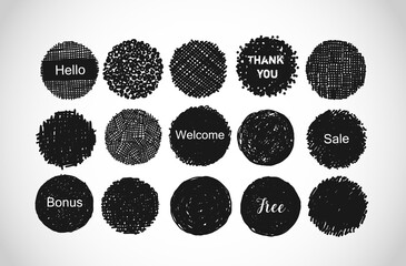 Set of black scribble circles with place for your text. Vector doodle logo template.