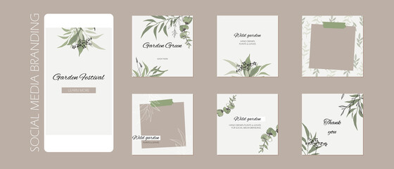 Obraz abstract Instagram story post feed background, web banner template with copy space. green floral sketch spring herb layout mock up. for beauty, jewelry, skin care, wedding, makeup, food, restaurant - fototapety do salonu