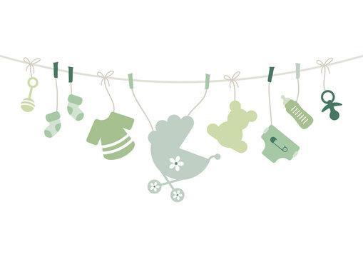 Karte Bogen Hängende Babysymbole Unisex Grün Beige