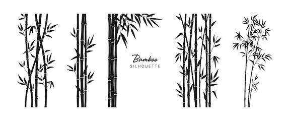 Set of bamboo silhouette on white background. Black bamboo stems, branches and leaves. Vector illustration.