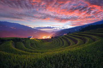 Green Rice fields on terraced in Mu cang chai, Vietnam Rice field on during sunset